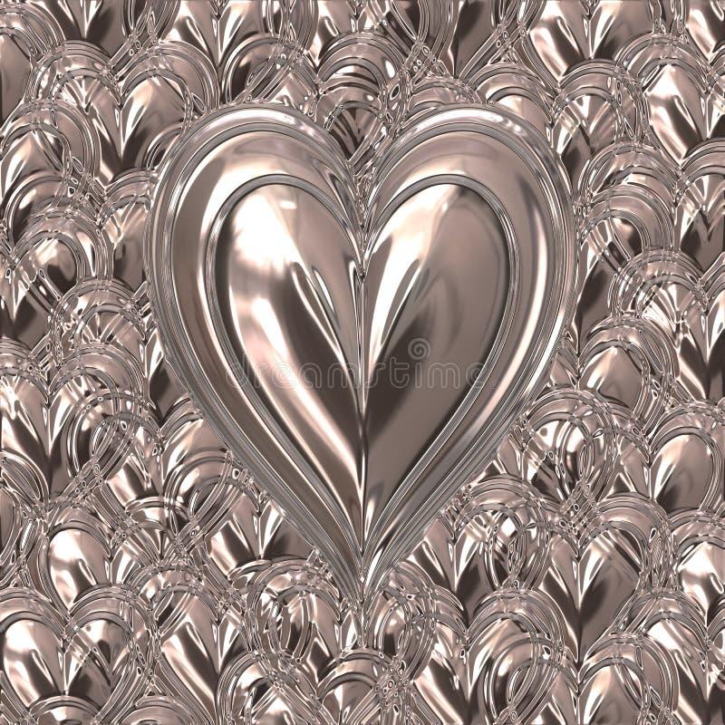 metalowy silver valentines serce ilustracja wektor