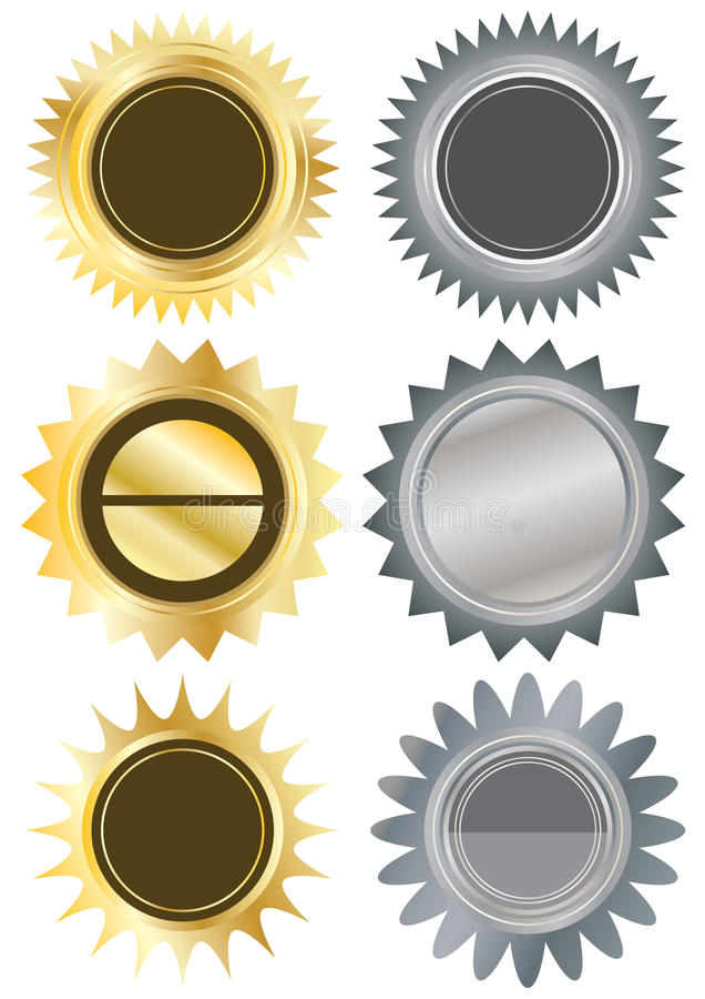 Metals Circle Blank Stickers_eps royalty free illustration