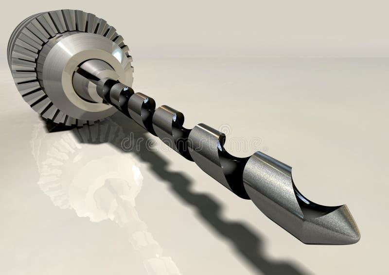 Metalu świderu kawałka I chucka Szeroki kąt Na powierzchni ilustracji