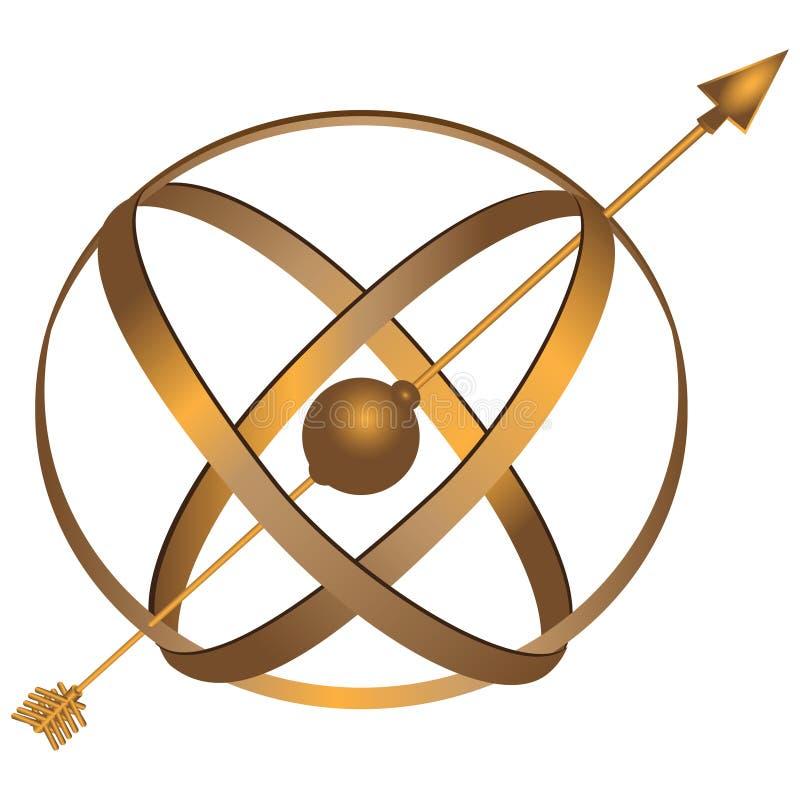 Metalu astrolabium ilustracja wektor