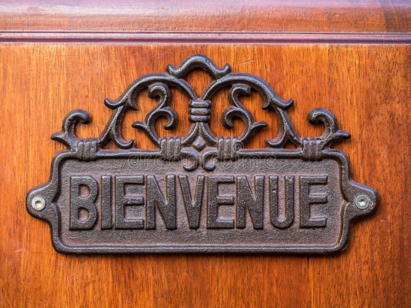 Metalu Bienvenue znak powitalny obraz royalty free