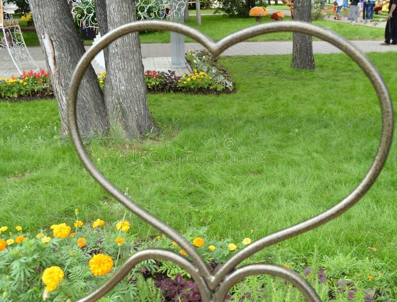 Metalu deseniowy kierowy symbol, spojrzenie przez serca na trawie, park, Valentine& x27; s dzień fotografia royalty free