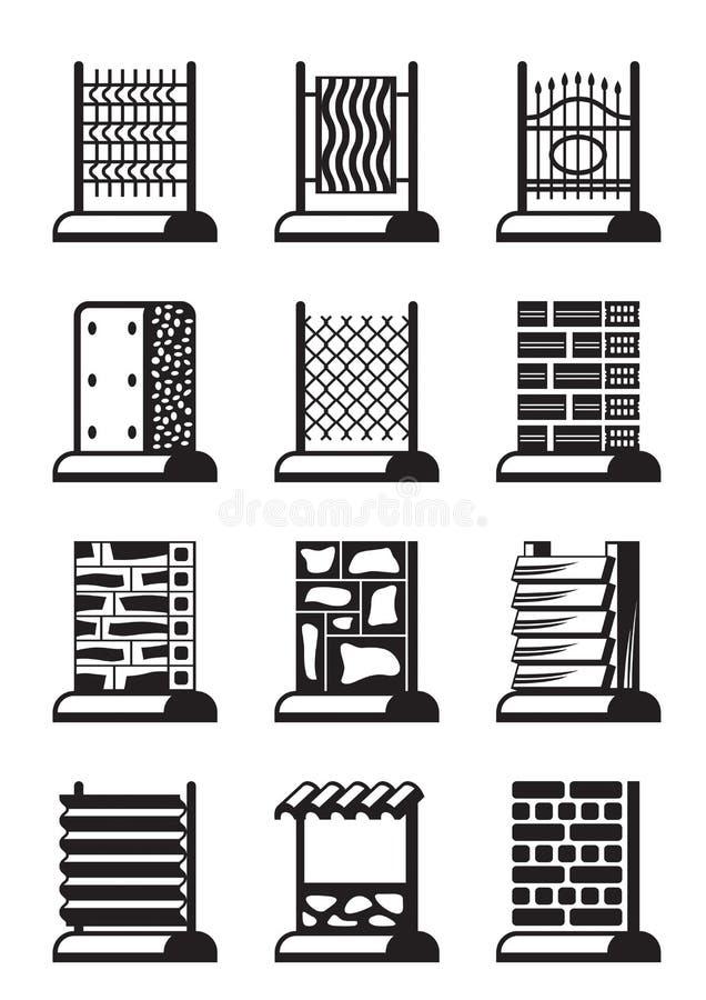 Metalu, drewna i cegły ogrodzenia, ilustracji