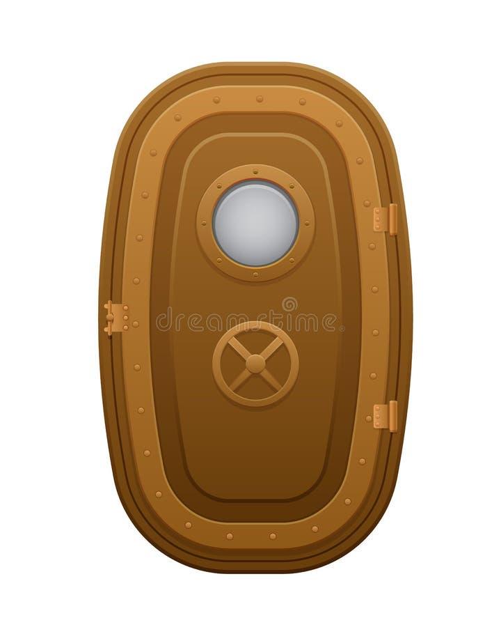 Metalu drzwi z oszklonym round nadokiennym porthole ilustracja wektor