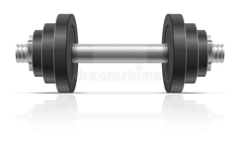 Metalu dumbbell dla mięśnia budynku w gym wektoru ilustracji royalty ilustracja