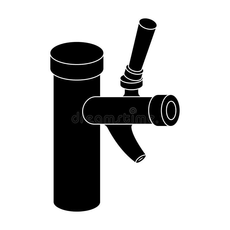 Metalu faucet dla wydawać zimnego kvass i piwo w barach Pub deseniowa ikona w czerń stylu symbolu wektorowym zapasie ilustracji