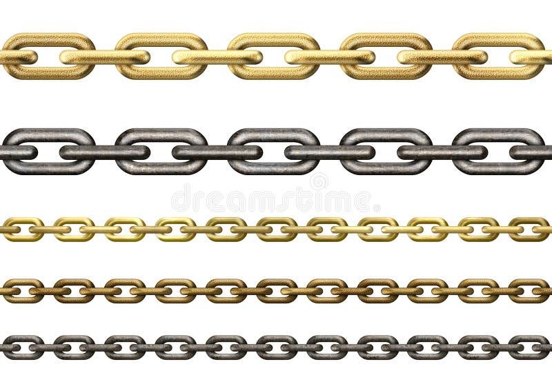 Metalu i złota łańcuchów kolekcja odizolowywająca ilustracji