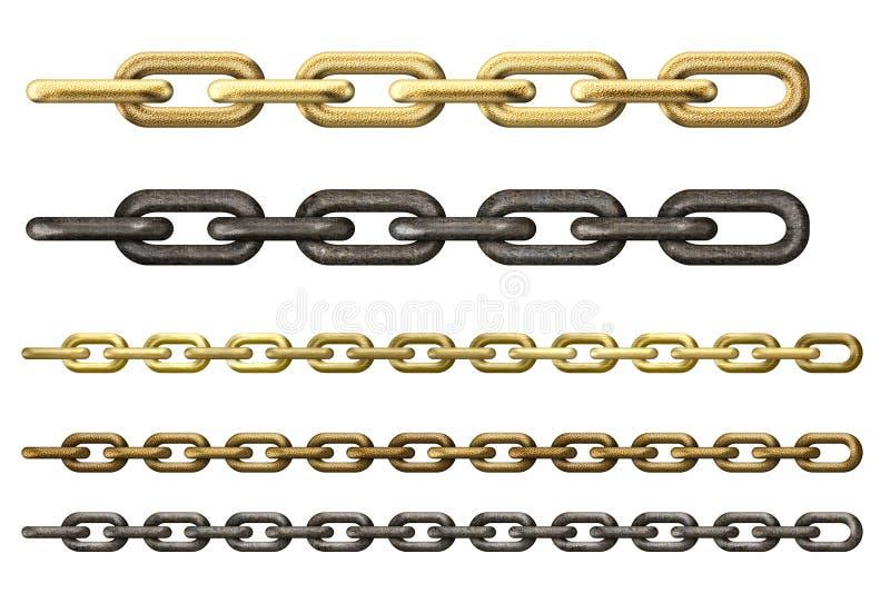 Metalu i złota łańcuchów kolekcja odizolowywająca royalty ilustracja
