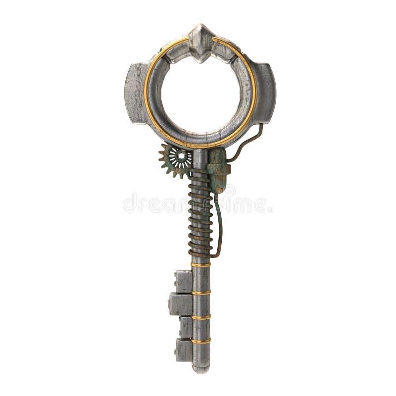 Metalu klucz w steampunk stylu na odosobnionym białym tle ilustracja 3 d obraz stock