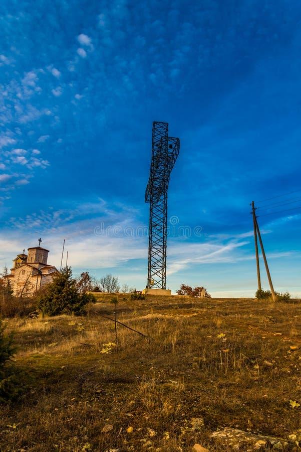 Metalu krzyż w Macedonia fotografia royalty free