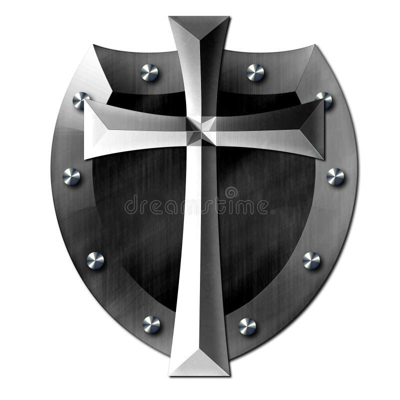 Metalu krzyża osłona bóg ilustracja wektor