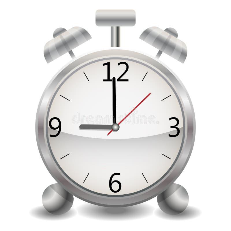 Metalu machinalny realistyczny budzik, zegar pokazuje dziewięć wieczór, dziewięć w ranku, wieczór, ranek ilustracji