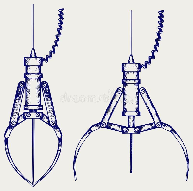 Metalu mechaniczny pazur royalty ilustracja