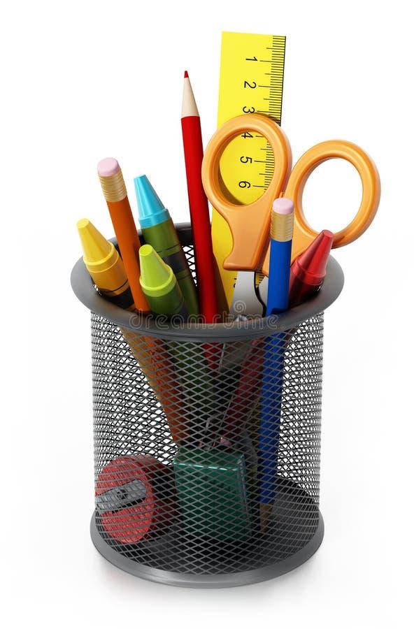 Metalu ołówkowy właściciel z szkolnymi dostawami ilustracja 3 d ilustracja wektor