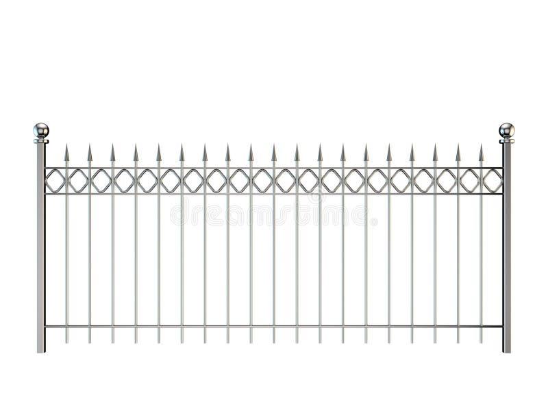 Metalu ogrodzenie pojedynczy białe tło 3D renderingu illustra ilustracja wektor