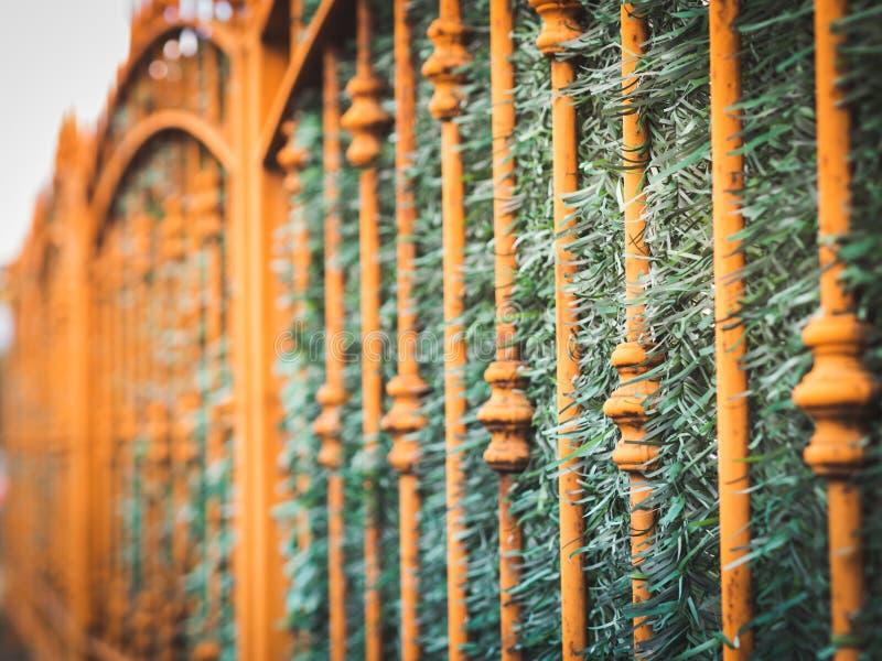 Metalu ogrodzenie w mie?cie obraz royalty free