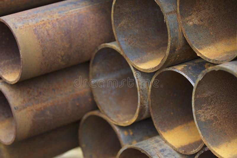 Metalu profilu drymba round sekcja w paczkach przy magazynem metali produkty zdjęcie royalty free