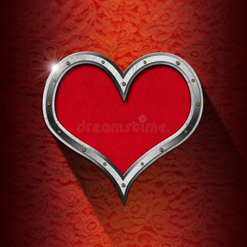 Metalu serce na Kwiecistym tle obrazy royalty free