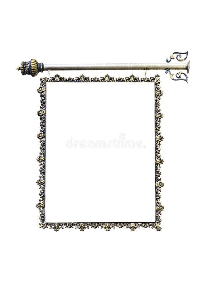 Metalu signboard na bielu zdjęcie stock