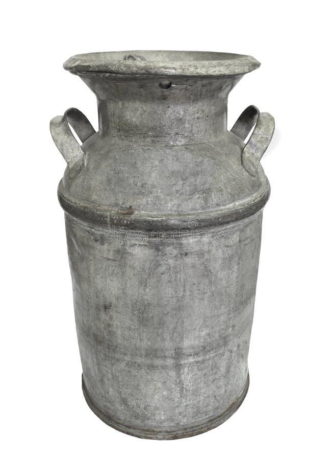 Metalu stary mleko może i dekiel odizolowywający. zdjęcia stock