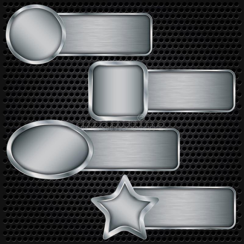Metalu sztandaru set, kruszcowego tekstura talerza ustalona wektorowa ilustracja ilustracja wektor