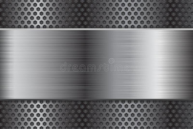 Metalu tło z dziurkowaniem i szczotkującym stalowym talerzem ilustracji