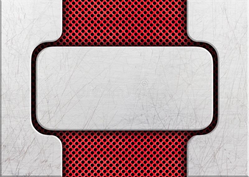 Metalu talerz na kratownicy stalowej ramy projekta czerwonych rozwiązaniach ilustracji