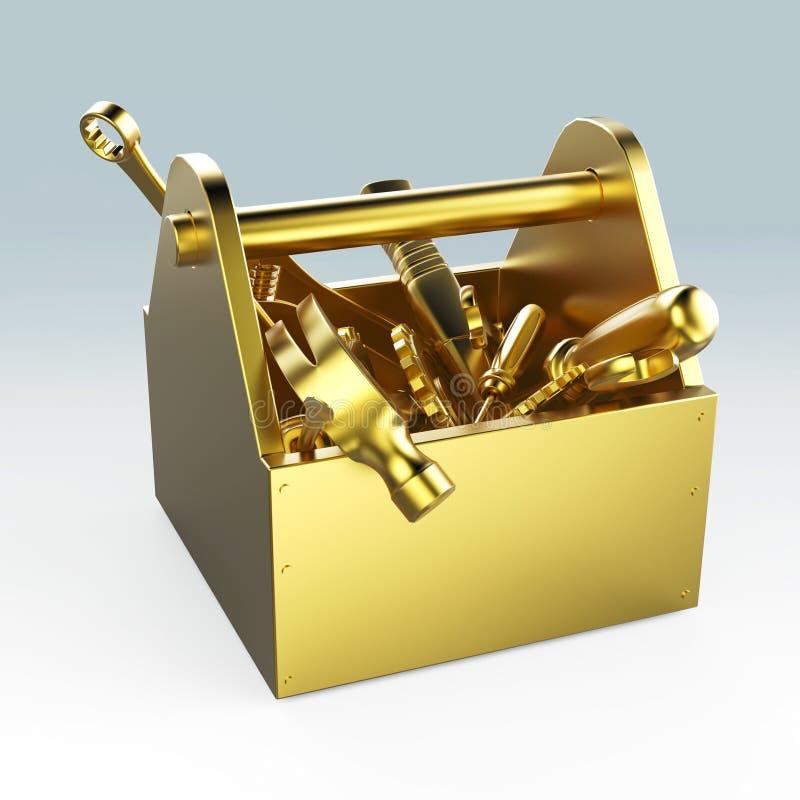 Metalu toolbox z narzędziami Śrubokręt, młot, spanner i wyrwanie, W budowie, utrzymanie, dylemat, naprawa, premia ilustracji
