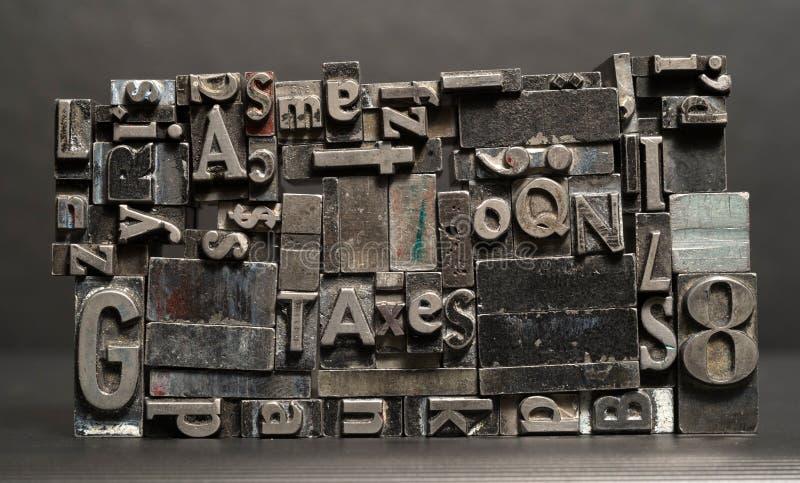 Metalu typ Drukowa prasa Typeset Opodatkowywa typografia teksta listy fotografia royalty free