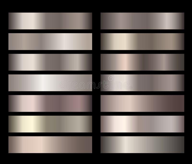 Metalu złota brązu folii tekstury gradienty wektorowi ilustracja wektor