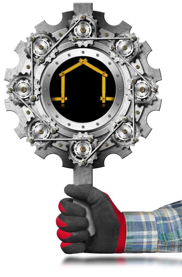 Metalu znak dla przemysłu budowlanego ilustracji