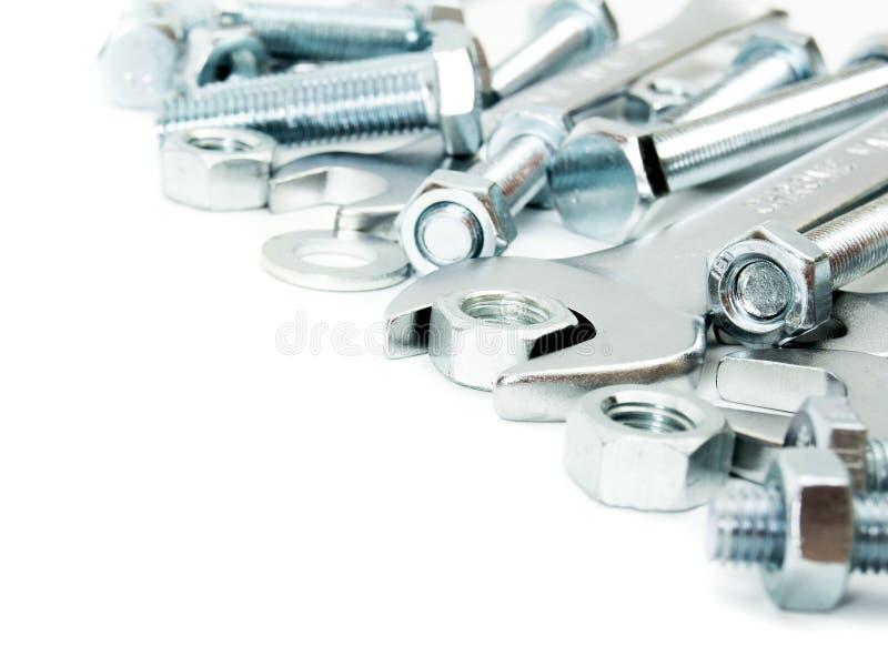 metalwork Accesorio del metal, llave inglesa en un blanco foto de archivo