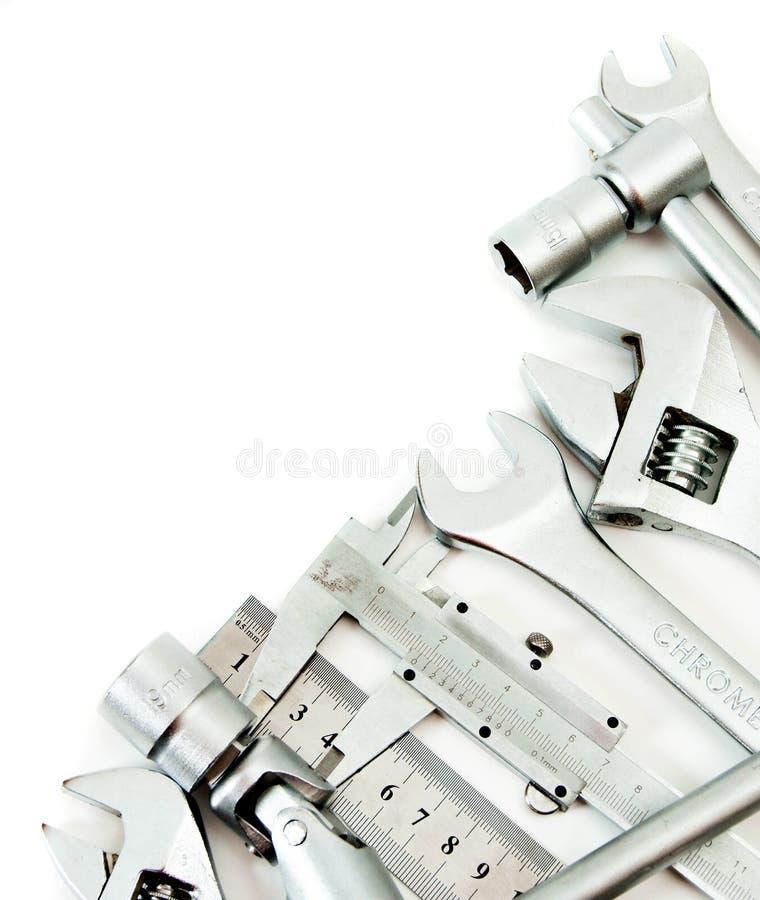 metalwork Llave inglesa, regla, calibrador y otros fotos de archivo libres de regalías