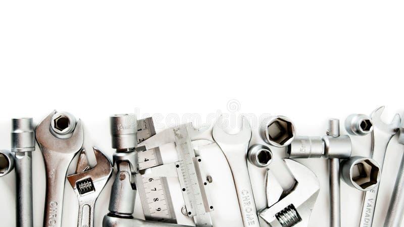 metalwork Llave inglesa, regla, calibrador y otros imágenes de archivo libres de regalías