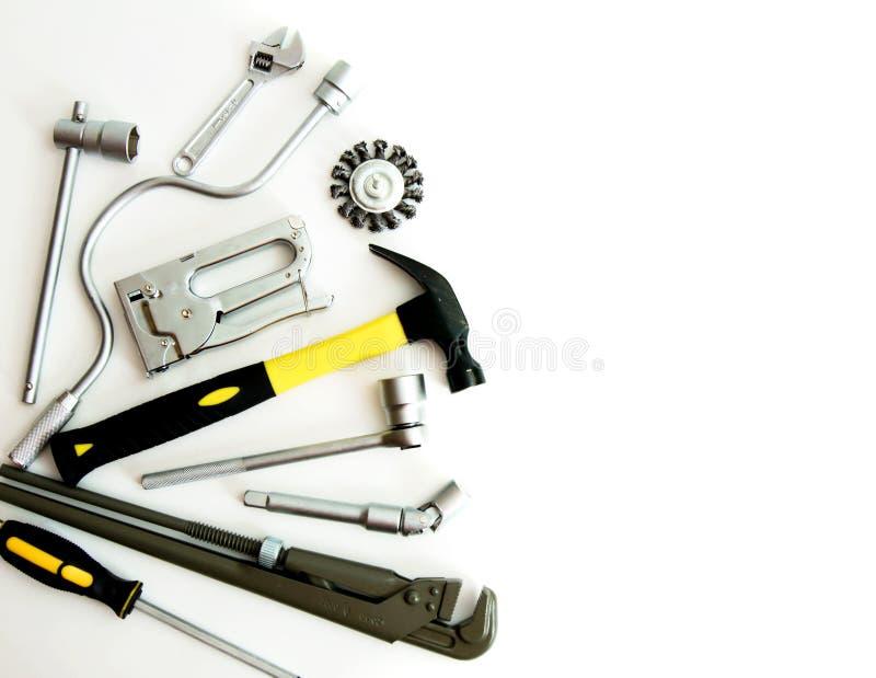 metalwork Martillo, grapadora y otras herramientas encendido imagen de archivo
