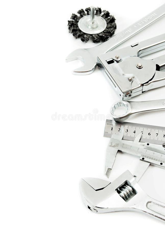 metalwork Regla, calibrador y otros herramientas encendido fotografía de archivo libre de regalías