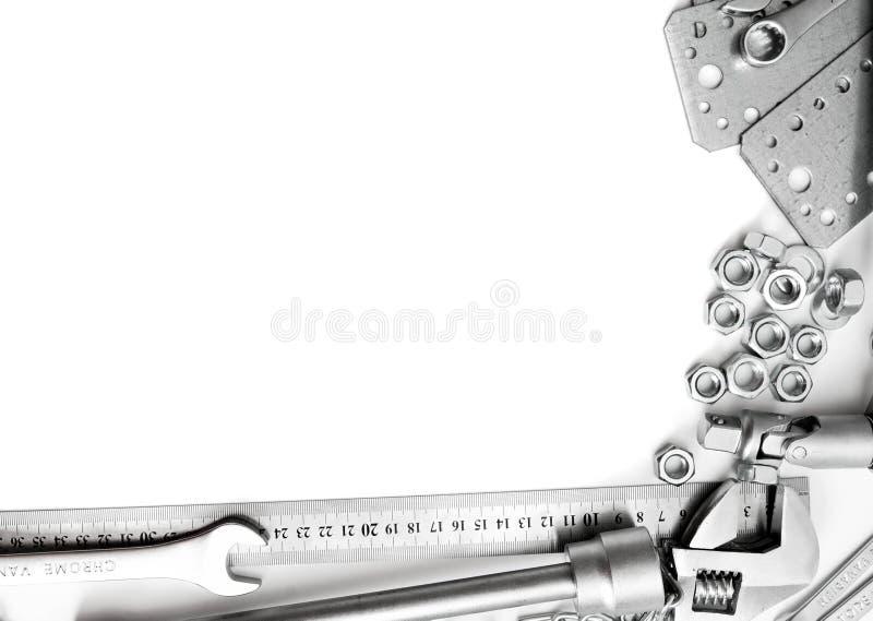 metalwork Regla, llave, tornillo y otros herramientas fotos de archivo