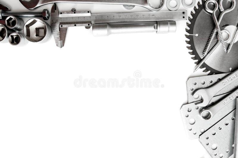 metalwork Regla, llave, tornillo y otros herramientas fotografía de archivo libre de regalías