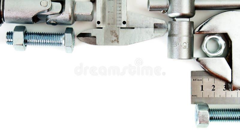 metalwork Regla, llave, tornillo y otros herramientas fotos de archivo libres de regalías