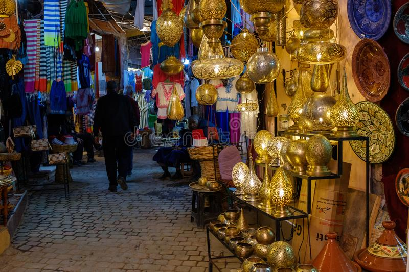 Metalworkers souk at Marrakech medina. Lamps and all kinds of metal decoration at the metalworkers souk at the Marrakech medina in Morocco royalty free stock photo