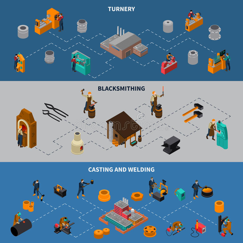 Metalworking Process Isometric Infographic Banners Set. Metalworking processes 3 isometric flowchart infographic elements banners set with blacksmith casting and royalty free illustration