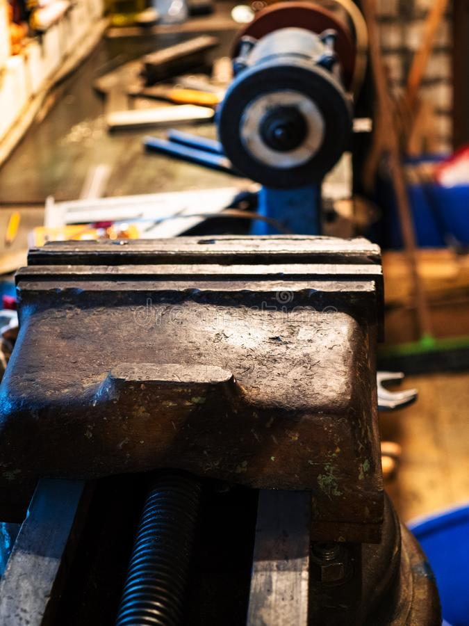 metalworking vise close up on the table stock photo