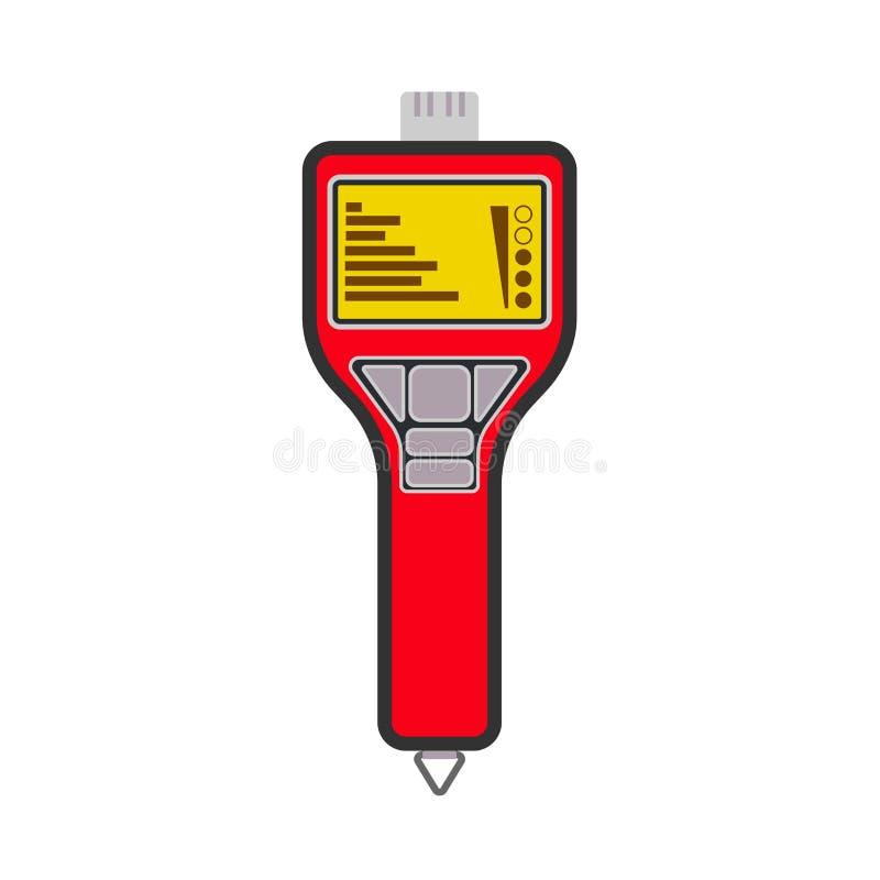 Metano vermelho digital portátil do verificador da tubulação do LPG do gás do detector, ícone do vetor do propano Alerta do medid ilustração royalty free