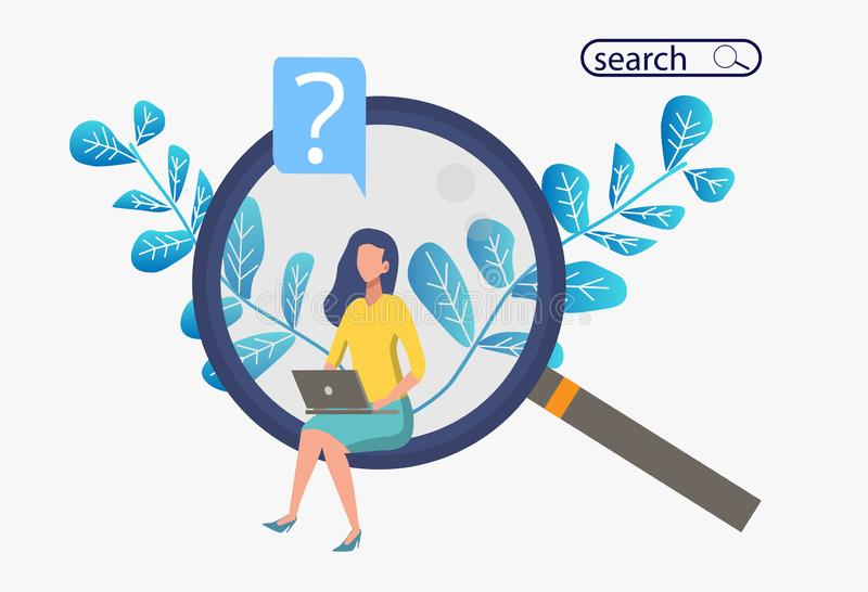 Metaphor banner with a woman sitting on a huge magnifier with a computer. Search for information or a potential Internet candidate. Vector illustration colorful royalty free illustration