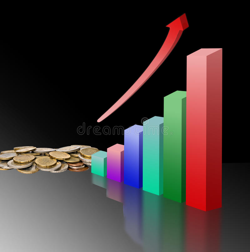 Metaphor of economical growth. Chart as Metaphor of economical growth stock illustration
