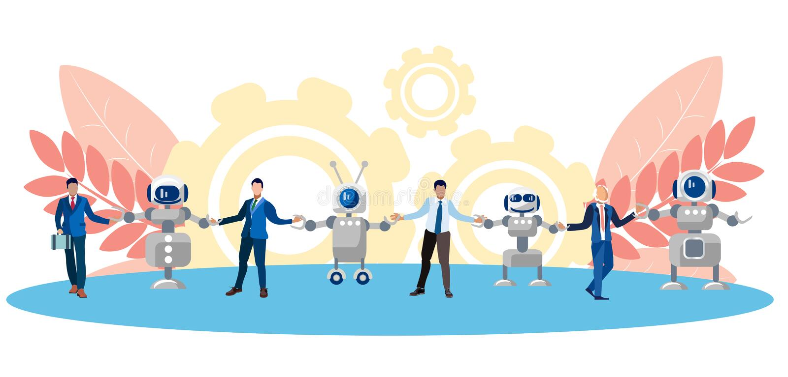 Metaphor of friendship, cooperation of people and technology. Chain of human and robots. In minimalist style. Flat. Isometric vector illustration stock illustration