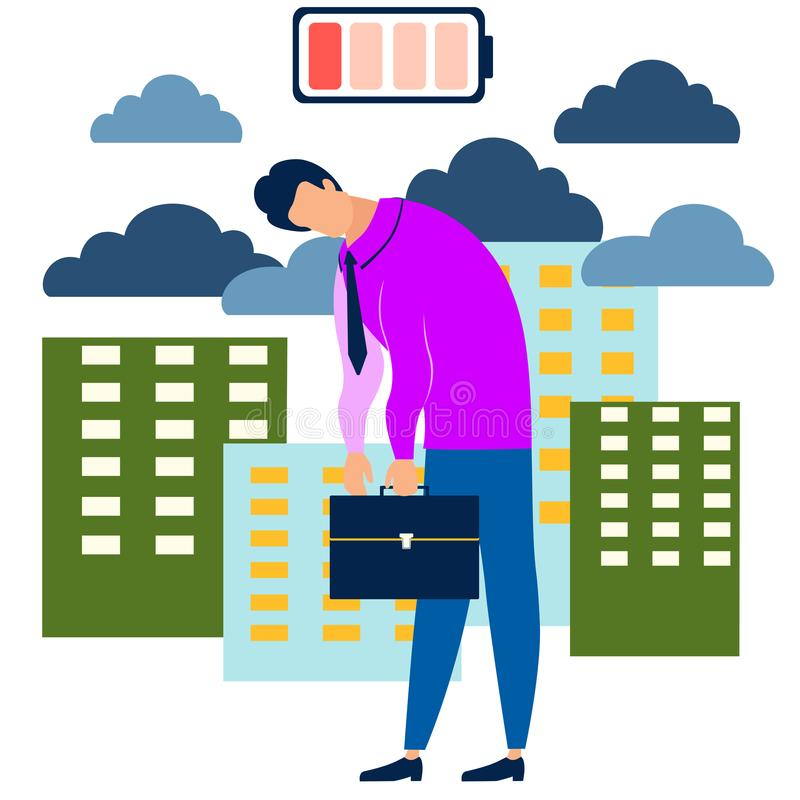 Metaphor of man fatigue, businessman overwork in minimalist style. Cartoon Raster. Illustration stock illustration