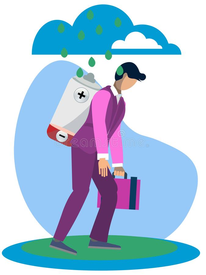 Metaphor of man fatigue, businessman overwork in minimalist style. Cartoon Raster. Illustration vector illustration