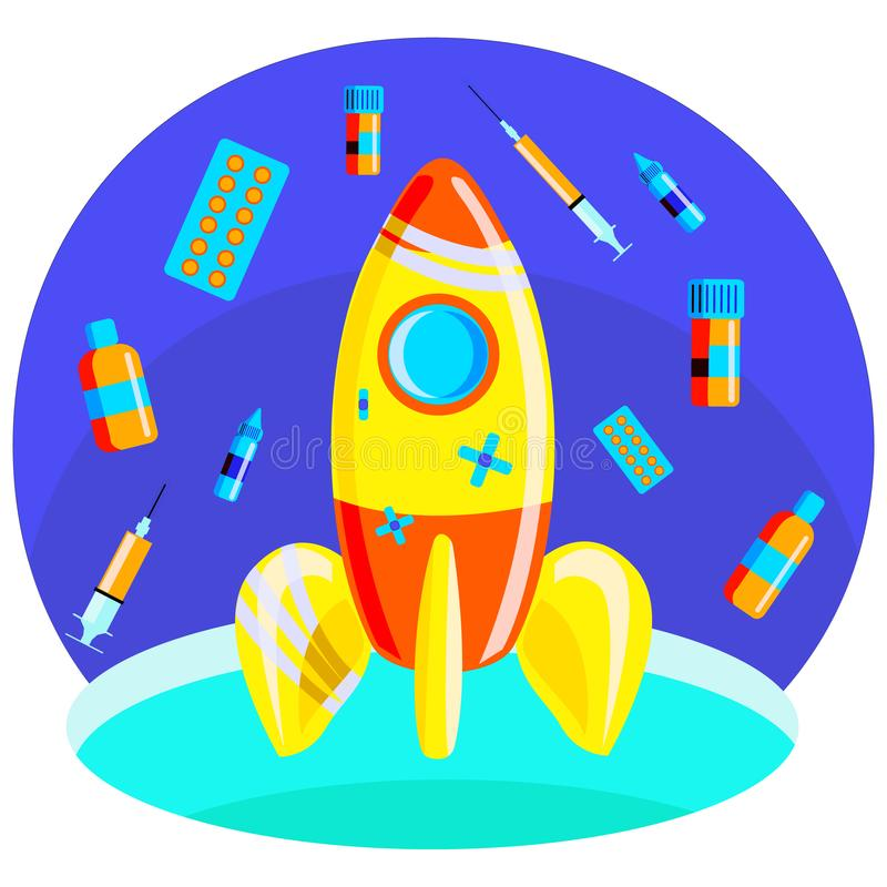 Vector illustration-a metaphor of a rocket taking off into space, where instead of stars medicines are depicted. vector illustration