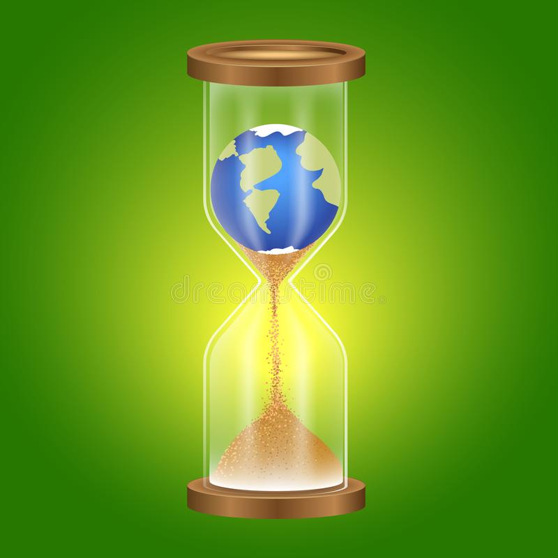 Metaphor, time of the earth expires, consumer attitude to nature. Hourglass. vector illustration